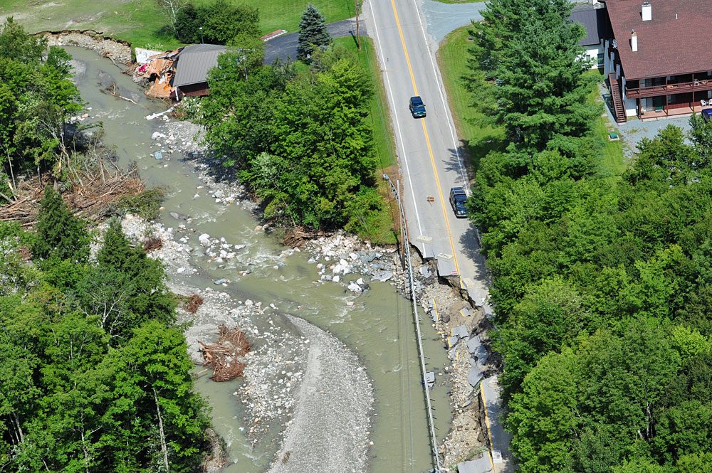 Fluvual Erosion, Tropical Storm Irene 2011. Photo Credit: Lar Gange & Mansfield Heliflight